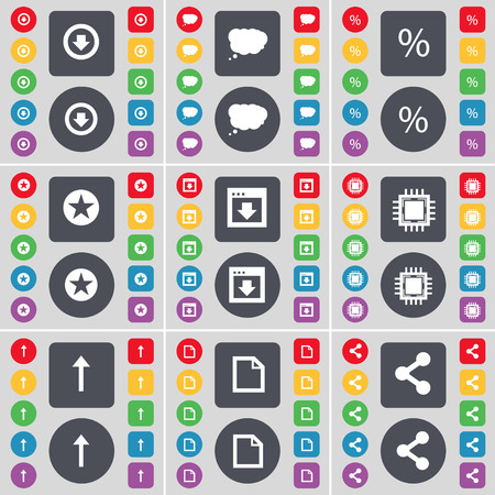 file share: Arrow down, Chat cloud, Percent, Star, Window, Processor, Arrow up, File, Share icon symbol. A large set of flat, colored buttons for your design. illustration