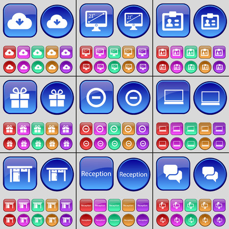 reception table: Cloud, Monitor, Contact, Gift, Minus, Laptop, Table, Reception, Chat bubble. A large set of multi-colored buttons. illustration Stock Photo