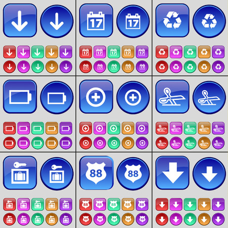 arrow down: Arrow down, Calendar, Recycling, Battery, Plus, Scissors, Vault, Police badge, Arrow down. A large set of multi-colored buttons. illustration Stock Photo