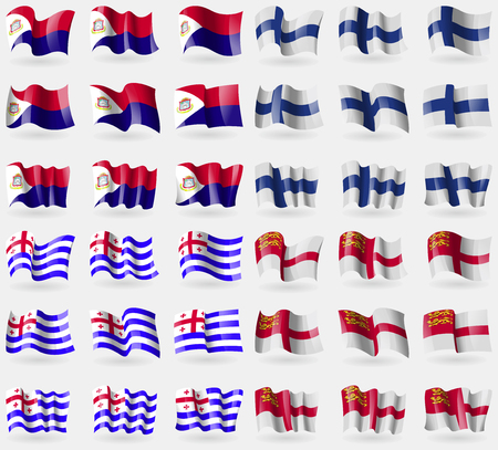 sark: Saint Martin, Finland, Ajaria, Sark. Set of 36 flags of the countries of the world. illustration