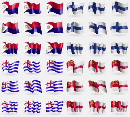 saint martin: Saint Martin, Finland, Ajaria, Sark. Set of 36 flags of the countries of the world. illustration