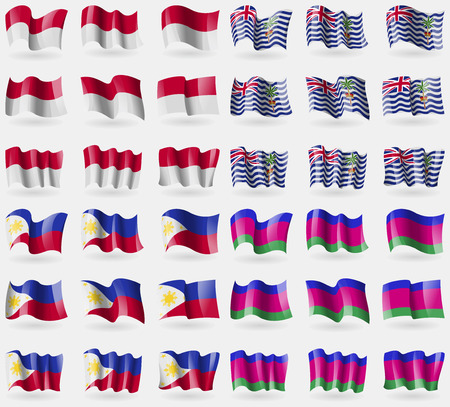 kuban: Indonesia, British Indian Ocean Territory, Philippines, Kuban Republic. Set of 36 flags of the countries of the world. illustration Stock Photo