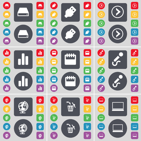 arrow right: Hard drive, USB, Arrow right, Diagram, Calendar, Microphone, Globe, Trash can, Laptop icon symbol. A large set of flat, colored buttons for your design. illustration
