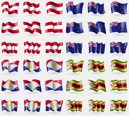 new zeland: Austria, New Zeland, Saba, Zimbabwe. Set of 36 flags of the countries of the world. illustration