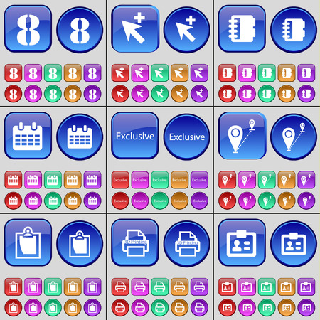 checkpoint: Eight, Cursor, Notebook, Calendar, Exclusive, Checkpoint, Survey, 3D Printing, Contact. A large set of multi-colored buttons. illustration