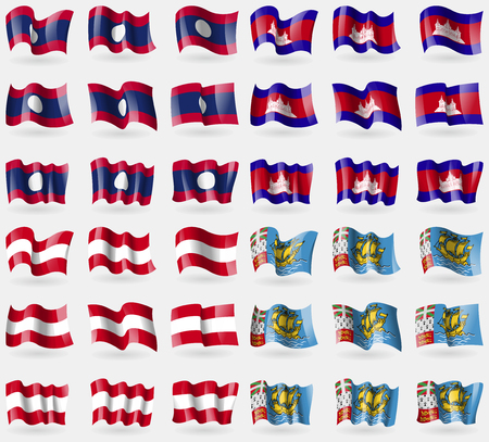 pierre: Laos, Cambodia, Austria, Saint Pierre and Miquelon. Set of 36 flags of the countries of the world. illustration