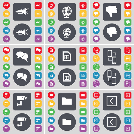 arrow left icon: Trumped, Globe, Dislike, Chat, File, Connection, CCTV, Folder, Arrow left icon symbol. A large set of flat, colored buttons for your design. illustration