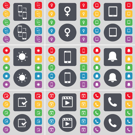 venus symbol: Information exchange, Venus symbol, Tablet PC, Light, Smartphone, Notification, Survey, Media player, Receiver icon symbol. A large set of flat, colored buttons for your design. illustration
