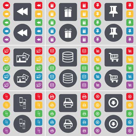 arrow down: Rewind, Gift, Pin, Picture, Database, Shopping cart, Information exchange, Printer, Arrow down icon symbol. A large set of flat, colored buttons for your design. illustration Stock Photo