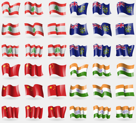 pitcairn: Lebanon, Pitcairn Islands, China, India. Set of 36 flags of the countries of the world. illustration