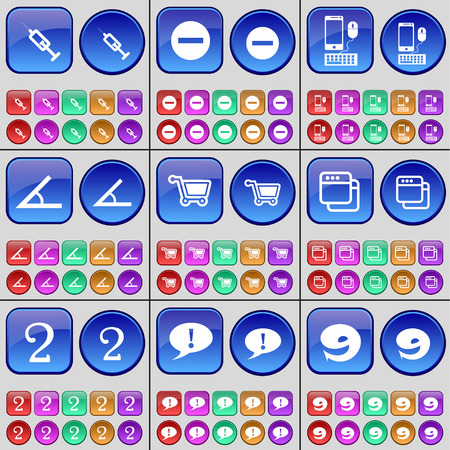 chat window: Syringe, Minus, Smartphone, Angle, Shopping cart, Window, Two, Chat bubble, Nine. A large set of multi-colored buttons. illustration Stock Photo