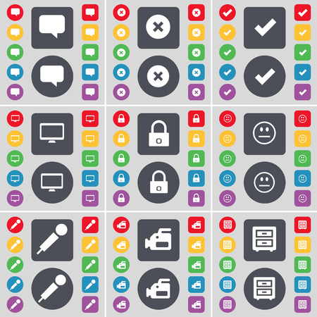 bedtable: Chat bubble, Stop, Tick, Monitor, Lock, Smile, Microphone, Film camera, Bed-table icon symbol. A large set of flat, colored buttons for your design. illustration