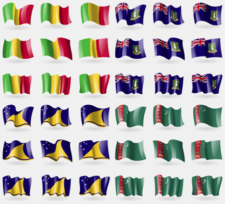 tokelau: Mali, VirginIslandsUK, Tokelau, Turkmenistan. Set of 36 flags of the countries of the world. illustration Stock Photo