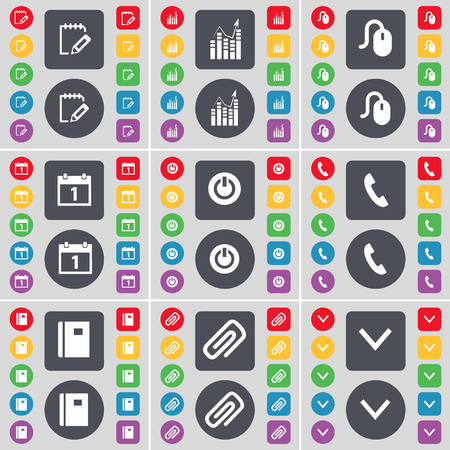 arrow down icon: Survey, Graph, Mouse, Calendar, Power, Receiver, Notebook, Clip, Arrow down icon symbol. A large set of flat, colored buttons for your design. illustration