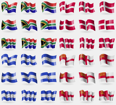 sark: South Africa, Denmark, Honduras, Sark. Set of 36 flags of the countries of the world. illustration Stock Photo