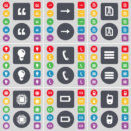 arrow right: Quotation mark, Arrow right, ZIP file, Light bulb, Receiver, Apps, Processor, Battery, Mobile phone icon symbol. A large set of flat, colored buttons for your design. illustration Stock Photo