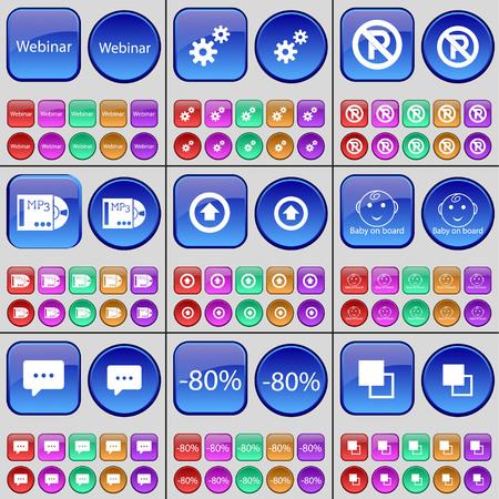 bebe a bordo: Webinar, engranaje, Aparcamiento, MP3, flecha hacia la derecha, bebé a bordo, Chat de burbujas, Descuento, Copiar. Un gran conjunto de botones multicolores. ilustración