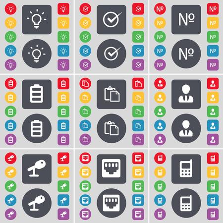 enchufe de luz: bombilla, Tick, Número, batería, Encuesta, Avatar, micrófono, conexión LAN, teléfonos móviles icono de símbolo. Un gran conjunto de botones planos, de color para su diseño. ilustración