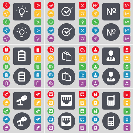 light socket: Light bulb, Tick, Number, Battery, Survey, Avatar, Microphone, LAN socket, Mobile phone icon symbol. A large set of flat, colored buttons for your design. illustration Foto de archivo