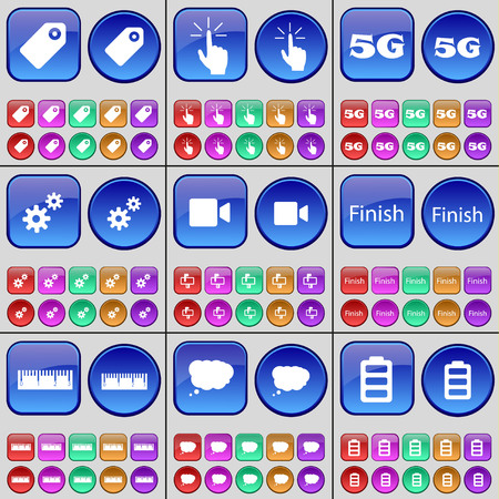 5g: Tag, Tap, 5G, Gear, Film camera, Finish, Ruler, Chat cloud, Battery. A large set of multi-colored buttons. illustration