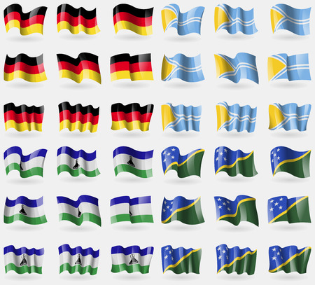solomon: Germany, Tuva, Lesothe, Solomon Islands. Set of 36 flags of the countries of the world. illustration