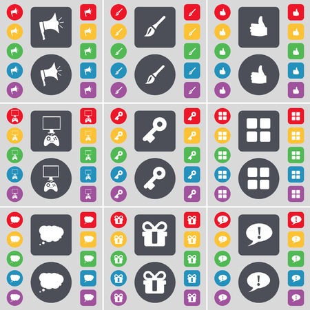 game console: Megaphone, Brush, Like, Game console, Key, Apps, Chat cloud, Gift, Chat bubble icon symbol. A large set of flat, colored buttons for your design. illustration