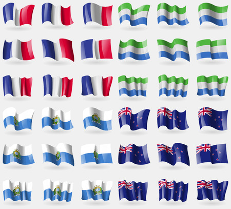 new zeland: France, Sierra Leone, San Marino, New Zeland. Set of 36 flags of the countries of the world. illustration Stock Photo