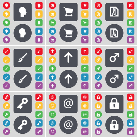 lock up: Silhouette, Shopping cart, ZIP file, Brush, Arrow up, Mars symbol, Key, Mail, Lock icon symbol. A large set of flat, colored buttons for your design. illustration