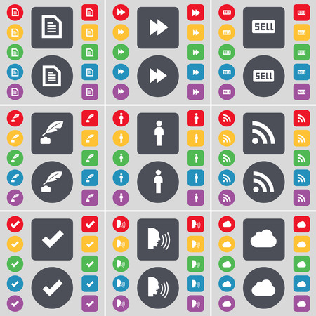 ink pot: Text file, Rewind, Sell, Ink pot, Silhouette, RSS, Tick, Talk, Cloud icon symbol. A large set of flat, colored buttons for your design. illustration