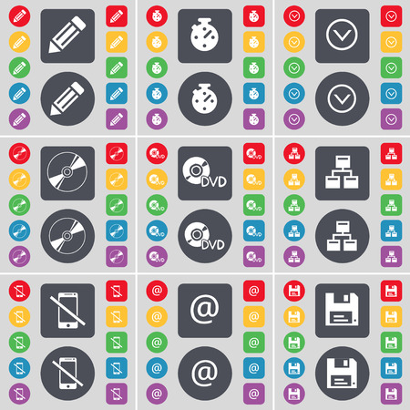 arrow down: Pencil, Stopwatch, Arrow down, DVD, Network, Smartphone, Mail, Floopy icon symbol. A large set of flat, colored buttons for your design. illustration