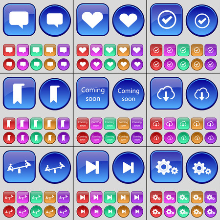 skip: Chat bubble, Heart, Tick, Marker, Coming soon, Cloud, Swing, Media skip, Gear. A large set of multi-colored buttons. illustration