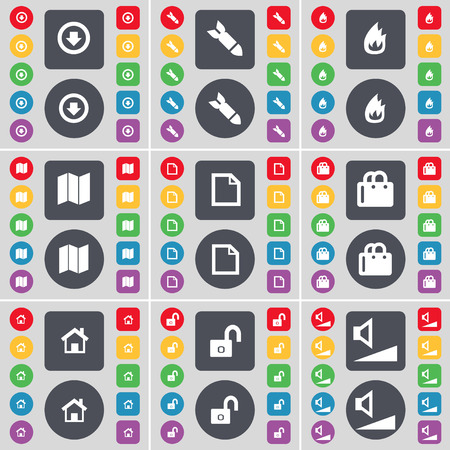 arrow down: Arrow down, Rocket, Fire, Map, File, Shopping bag, House, Lock, Volume icon symbol. A large set of flat, colored buttons for your design. illustration