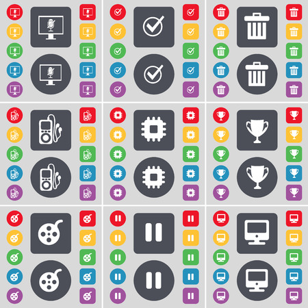 mp3 player: Monitor, Tick, Trash can, MP3 player, Processor, Cup, Videotape, Pause, Monitor icon symbol. A large set of flat, colored buttons for your design. illustration