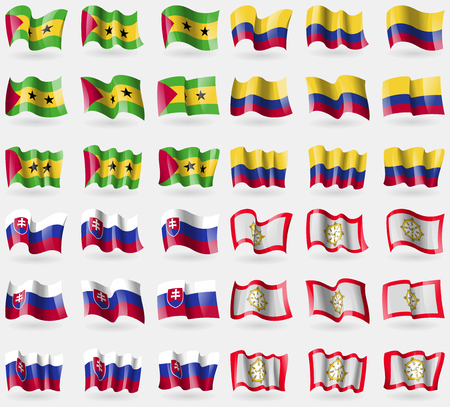 principe: Sao Tome and Principe, Colombia, Slovakia, Sikkim. Set of 36 flags of the countries of the world. illustration