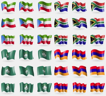 equatorial guinea: Equatorial Guinea, South Africa, Macau, Armenia. Set of 36 flags of the countries of the world. illustration