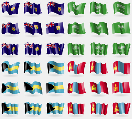 the turks: Turks and Caicos, Saudi Arabia, Bahamas, Mongolia. Set of 36 flags of the countries of the world. illustration Stock Photo