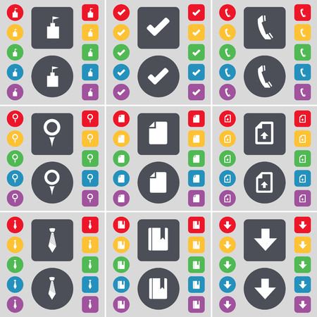 arrow down icon: Flag tower, Tick, Receiver, Checkpoint, File, Upload file, Tie, Dictionary, Arrow down icon symbol. A large set of flat, colored buttons for your design. illustration Stock Photo