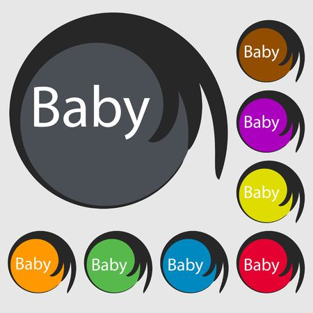 baby on board: Baby on board sign icon. Infant in car caution symbol. Baby pacifier nipple. Symbols on eight colored buttons. illustration