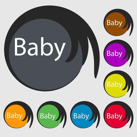 bebe a bordo: Beb� a bordo icono de la se�al. Infantil en s�mbolo de precauci�n coche. tetina del chupete de beb�. S�mbolos en ocho botones de colores. ilustraci�n