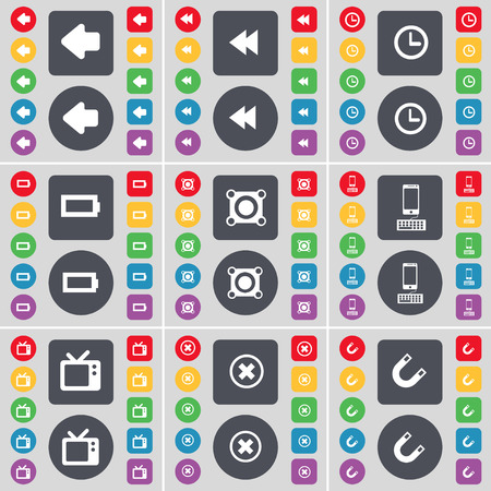 retro tv: Arrow left, Rewind, Clock, Battery, Speaker, Smartphone, Retro TV, Stop, Magnet icon symbol. A large set of flat, colored buttons for your design. illustration Stock Photo