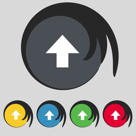 this side up: This side up sign icon. Fragile package symbol. Set colourful buttons. illustration