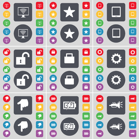tablet pc in hand: Monitor, Star, Tablet PC, Lock, Gear, Hand, Charging, Trumped icon symbol. A large set of flat, colored buttons for your design. illustration