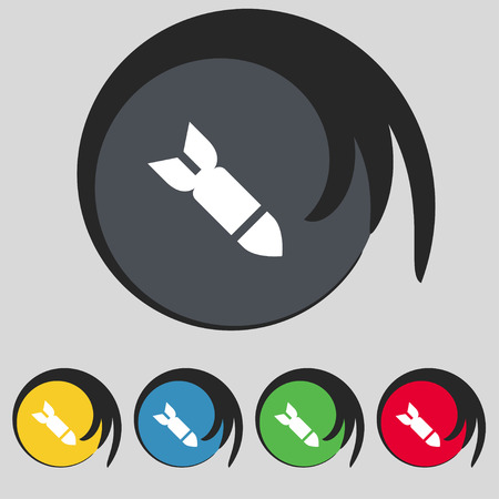 missile: Missile,Rocket weapon icon sign. Symbol on five colored buttons. illustration