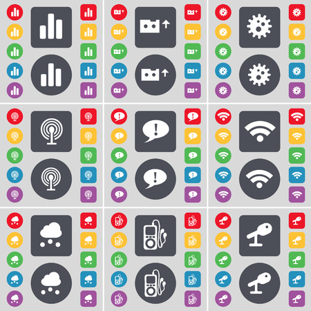 mp3 player: Diagram, Cassette, Gear, Wi-Fi, Chat bubble, Wi-Fi, Cloud, MP3 player, Microphone icon symbol. A large set of flat, colored buttons for your design. illustration Stock Photo
