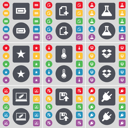 dropbox: Battery, File, Flask, Star, Thermometer, Dropbox, Laptop, Floppy, Socket icon symbol. A large set of flat, colored buttons for your design. illustration