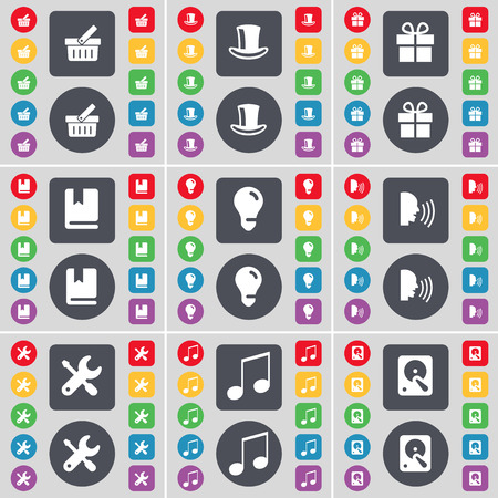 gift basket: Basket, Silk hat, Gift, Dictionary, Light bulb, Talk, Wrench, Note, Hard drive icon symbol. A large set of flat, colored buttons for your design. illustration
