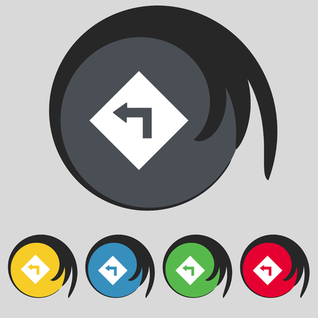 danger ahead: Road sign warning of dangerous left curve icon sign. Symbol on five colored buttons. illustration