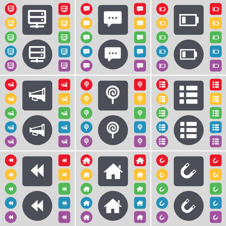 bedtable: Bed-table, Chat bubble, Battery, Megaphone, Lollipop, List, Rewind, House, Magnet icon symbol. A large set of flat, colored buttons for your design. illustration Stock Photo