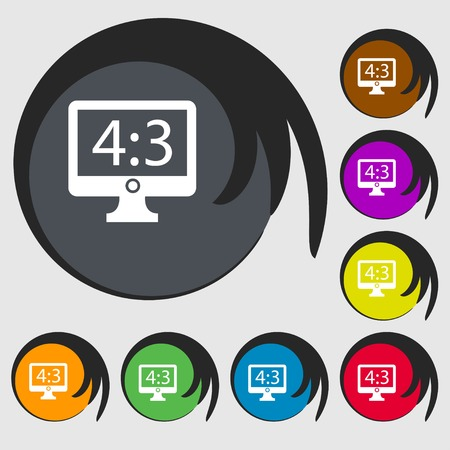 4 3 display: Aspect ratio 4 3 widescreen tv icon sign. Symbols on eight colored buttons. illustration Stock Photo