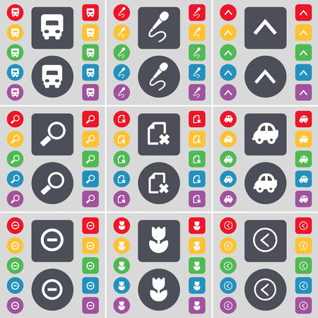 arrow left icon: Truck, Microphone, Arrow up, Magnifying glass, Fire, Car, Minus, Flower, Arrow left icon symbol. A large set of flat, colored buttons for your design. illustration Stock Photo